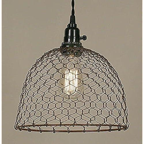 primitive lighting fixtures. 3 Styles-Colors - Chicken Wire Swag Lamp Pendant Light Antique Vintage Rustic Industrial Primitive Farm Country 10\ Lighting Fixtures V
