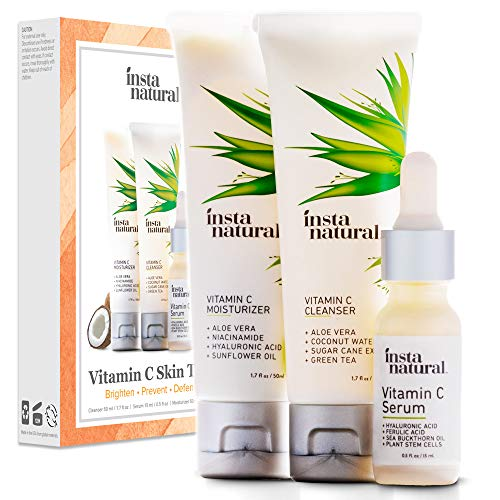 Facial Starter Kit - Vitamin C Skin Trio Bundle - 30 Day Starter Kit - Cleanser, Serum, Moisturizer Combo - Natural & Organic Anti Aging Face Treatment - Reduces Wrinkles, Dark Circles & Boost Collagen - InstaNatural