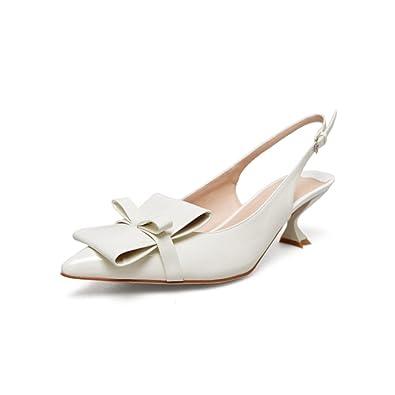 ea0ec6db15e14 Nine Seven Patent Leather Women's Pointed Toe Kitten Heel Slip On Handmade  Slingback Dress Pumps with