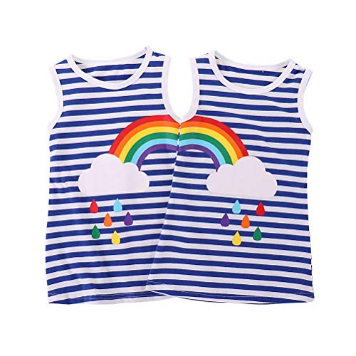 Kids' Girls 2 Pack Tee T-Shirts Rainbow Striped Printed Sleeveless Tops Clothes (Blue/White Striped, 2-3T)