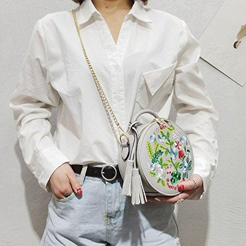 de Gris las flor de de redondo bordado del Majome cuero de mujeres Bolso la borla de la del del de bolso hombro PU la la cadena pwwq64g