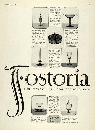 1925 Ad Fostoria Crystal Glassware Decorative Vases - Original Print Ad from PeriodPaper LLC-Collectible Original Print Archive