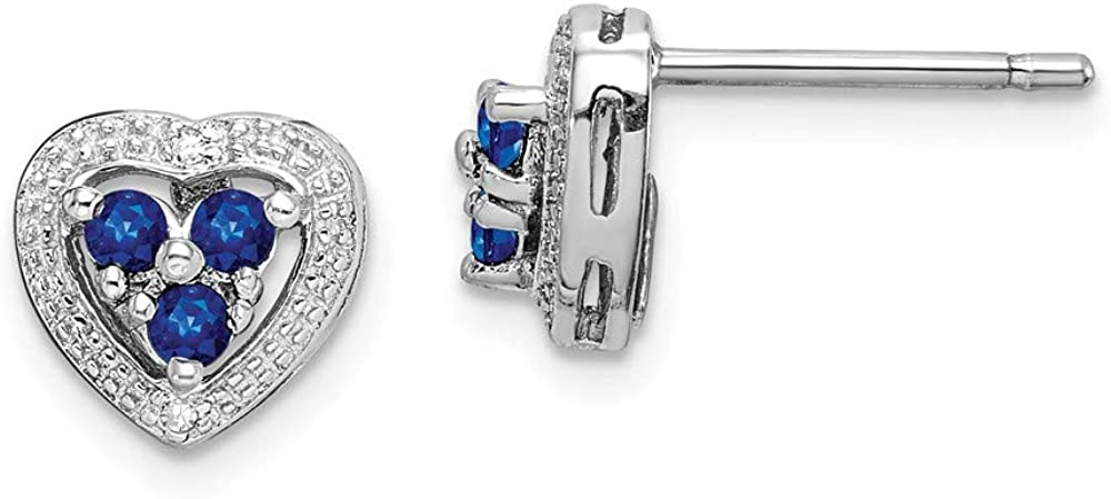 Rhodium Plated Diamond and Sapphire Heart Earrings Mia Diamonds 925 Sterling Silver 8mm x 8mm .01cttw
