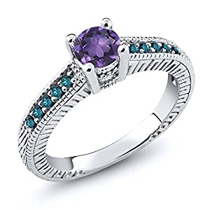 0.62 Ct Round Purple Amethyst Blue Diamond 925 Sterling Silver Engagement Ring