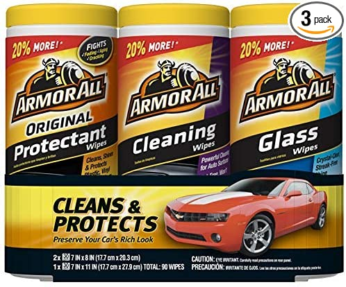 Amazon.com: Armor All - 18782 Protectant, Glass and Cleaning Wipes, 30 Count Each (Pack of 3): Automotive