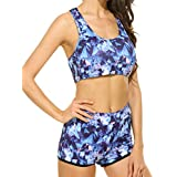 Ekouaer Womens Long Sleeve Rashguard Swimwear High Waist Two Piece Bathing Suit