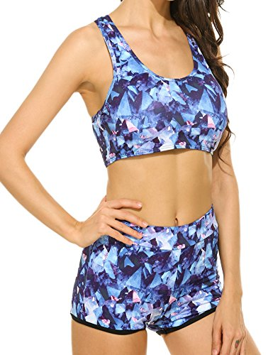 Ekouaer Women's Sports Padded Racer Back Tankini Swimsuit (Blue, ()