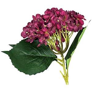 EZFLOWERY 5 Pcs Artificial Silk Hydrangeas Flowers Bouquet Arrangement, for Home Decor, Wedding, Office, Room, Hotel, Event, Party Decoration (Violet Red) 3
