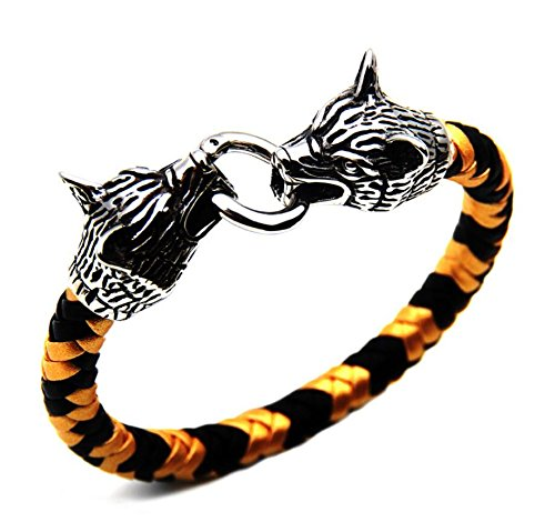 Stainless Steel Double Wolf Head & Ring Buckle Bracelet Two-color Braided Bangel (Gold) ()