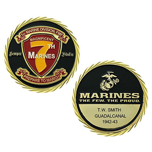 (Personalized Custom Engraved United States Marine Corps 7th Marines Regiment - Prepare To March - Premium Bronze and Enamel - Challenge Coin - Medallion - 1 7/8 in (45mm) Round)