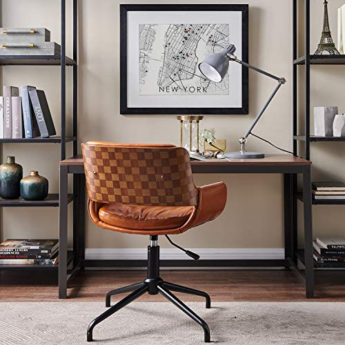 Volans Home Office Chair Mid Century Modern Bentwood Swivel Accent Office Desk Chair with Leather Upholstery, Adjustable Height Task Chair with Armrest, Brown