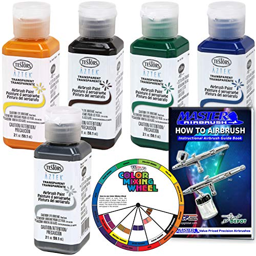 (5 Color - Testors Aztek Premium Transparent Acrylic Airbrush Paint Set with Color Mixing Wheel and How to Airbrush Manual)