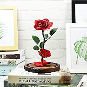 Sixpi Beauty and Beast Roses, Dream Flower Red Silk Rose with LED Light and Fallen Petals on a Glass Dome Wooden Base, Best for Weddings, Anniversaries, Best Gift for Her Big 4
