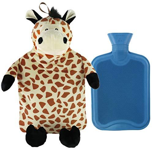 Athoinsu Animal Rubber 2L Hot Water Bottle with Cute Brown Plush Giraffe Cover for Girls Women Children (Giraffe)
