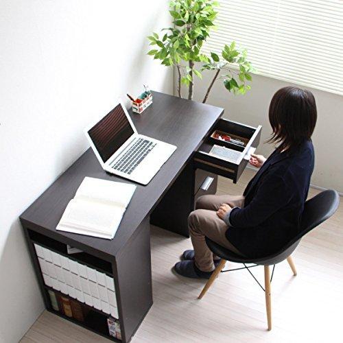 【予約販売10月上旬入荷予定】パソコンデスク ツインデスク 用デスク単体 ハイタイプ パソコンデスク 書棚付きラック ダークブラウン TIP0270-ADBR J-Supply B077T6V46T