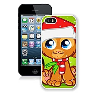 Great Quality Cartoon Christmas Decorated Cat Iphone 5s Case,Phone Case For Iphone 5,Iphone 5 White TPU Cover