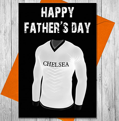 AKGifts Father's Day Card - Chelsea Football (Chalkboard Effect) - Chelsea Keeper Jersey