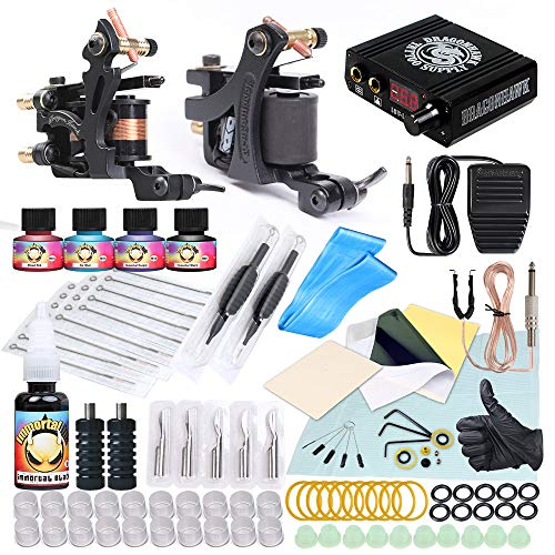 Dragonhawk Complete Tattoo Kit Craft Liner and Shader Coils Tattoo Machine, Immortal Inks Tattoo Power Supply Foot Pedal and More Supplies