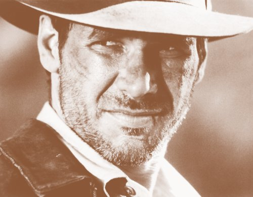 Indiana Jones   Raiders Of The Lost Ark  1981 Movie Harrison Ford 11  X 14  Sepia Poster