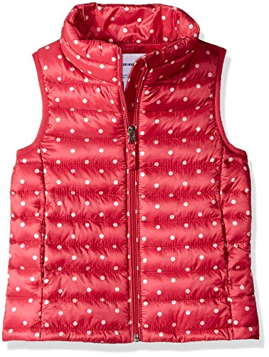 Amazon Essentials Little Girls' Lightweight Water-Resistant Packable Puffer Vest, Pink Dot, Small
