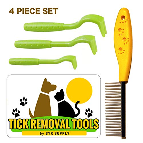 SYR Supply Tick Remover Tool Kit 3 Pack + 1 Stainless Steel Grooming Flea Comb Set for Dogs Cats Pets Horses Humans Tick Removal Tools Removes Ticks for Cat Dogs Pets Horses and Humans