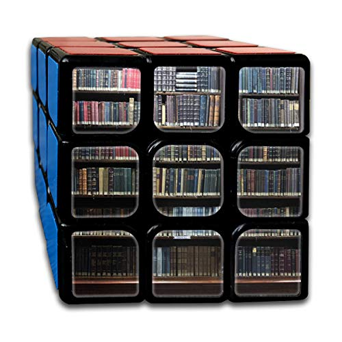 Speed Cube Old Books On Bookshelf In Library Creative 3 X 3 Rubik's Cube For Boys Intelligence Toy (Sticker)
