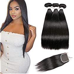 Beauhair 7A Brazilian Straight Hair 3 Bundles with Lace Closure(20 22 24 +18 Free Part Closure) Virgin Human Hair Weave 100% Unprocessed Human Natural Black Remy Hair Extensions