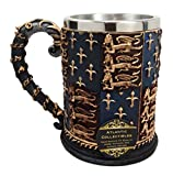 "Atlantic Collectibles Large Medieval Coat Of Arms Lion Heart Beer Stein Tankard Coffee Cup Mug 5.25""H"