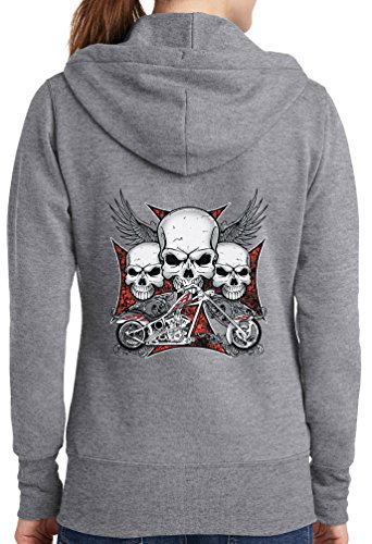 Womens Chopper Skulls Full Zip Hoodie, Athletic Heather, 3X