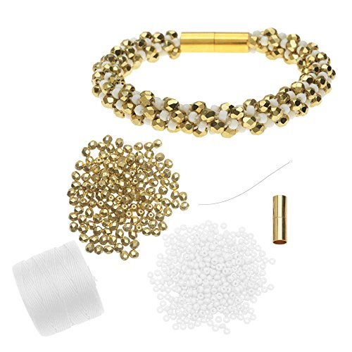 - Beadaholique Refill - Deluxe Spiral Beaded Kumihimo Bracelet - White and Gold - Exclusive Jewelry Kit