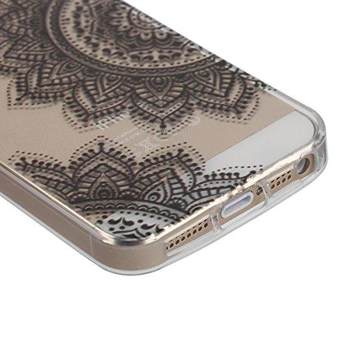 Funda para iPhone 6 6S, funda de silicona transparente para iPhone 6 6S, iPhone 6 6S Case Cover Skin Shell Carcasa Funda, Ukayfe caso de la cubierta de la caja protectora del caso de goma Ultra Delgad Fiori Neri Semi