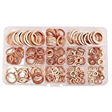 Copper Washer Set, Molie 120 PCS Copper Washers Car Repair Tools Oil Seal Sheet Gaskets