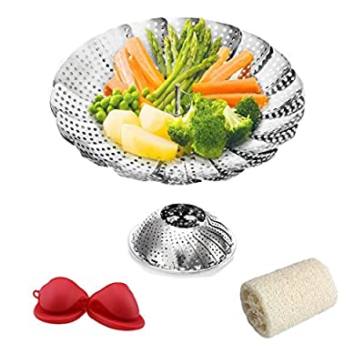 "Premium Vegetable Steamer Basket (5.5"" Expands to 9.5"") - Fits Instant Pot and Pressure Cooker - 100% Stainless Steel - Bonus Accessories - 2 Pack Mini Red Silicone Mitts & Natural Loofah Scrubber"