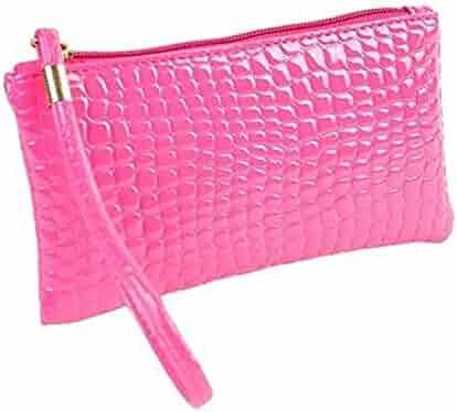 Wobuoke Women Crocodile PU Leather Zipper Wallet Wrist strap Clutch Handbag  Bag Coin Purse Clearance 00a1733020bb7