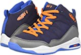 AND1 Boys' Breakout Sneaker, Black Iris/Alloy/Shocking Orange, 1 M US Little Kid