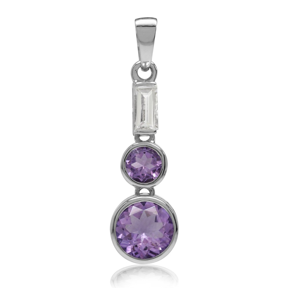 Natural Amethyst /& White Topaz Gold Plated 925 Sterling Silver Fashion Pendant 2.5ct