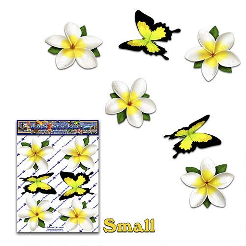 FLOWER White Single Frangipani Plumeria BUTTERFLY ANIMAL Small Pack Car Stickers Decals - ST00041WT_SML - JAS Stickers