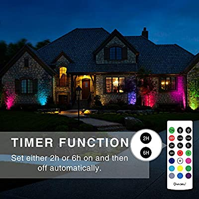 Onforu 4 Pack 12W RGB LED Flood Lights with Remote Control, IP66 Waterproof Dimmable Color Changing Floodlight, 11 Colors 2 Modes Wall Washer Light, Outdoor Decorative Garden Stage Landscape Lighting