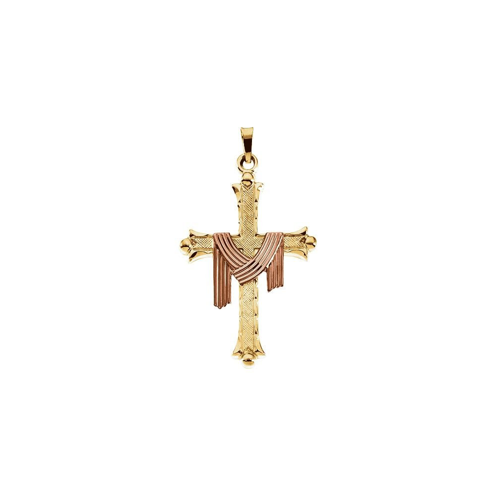 14K Yellow Gold /& Rose Gold 25.5x18mm Cross Pendant with Robe
