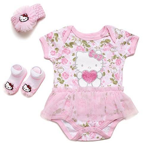 Hello Kitty Baby Girls' 3 Piece Gift Box with Tutu Onesie, Headband & Bootie Socks (Light Pink)