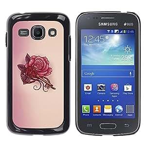 For Samsung Galaxy Ace 3 III / GT-S7270 / GT-S7275 / GT-S7272 Case , Key Tattoo Red Ink Drawing Art - Diseño Patrón Teléfono Caso Cubierta Case Bumper Duro Protección Case Cover Funda