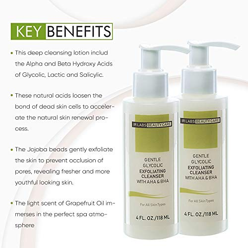 Exfoliating Face Wash With AHA And BHA, Glycolic Acid Facial Cleanser, Work For Anti-Aging Problems, Acne And Fine Lines, Organic Deep Cleanse For All Skin Types, Pack of 2