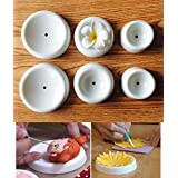 Fondant Drying Moulds 6 Pcs/Set, KOOTIPS Button Shapes Fondant Forming Cups Flower Drying Moulds Flower Cup Holder Cake Decorating Tools