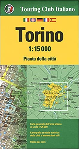 City Map Of Italy In English.Torino Italy City Map 1 15 000 English Spanish French