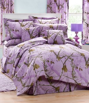 Realtree AP Lavender Camo 6 Pc TWIN Comforter Set (Comforter, 1 Flat Sheet, 1 Fitted Sheet, 1 Pillow Case, 1 Sham, 1 Bedskirt) SAVE BIG ON BUNDLING! by Kimlor by Kimlor