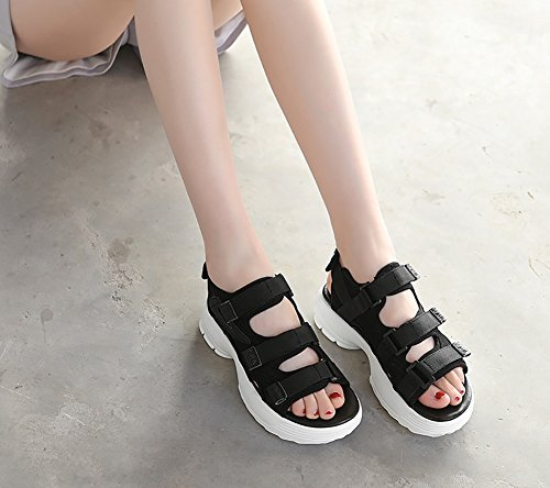 Woman Muffin Shoes Black Summer Sandals Cake Thick Shoes Bottom Student Wild Beach ZCJB 5UwxXqA