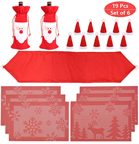 PIXHOTUL Christmas Table Decorations, Christmas Dinner Decor Sets for 6 Including Table Runner, Placemats, Wine Bottle Bags, Santa Claus Hats Tableware Holder for Xmas Dining Table 19 PCS (Up Set Table Christmas)