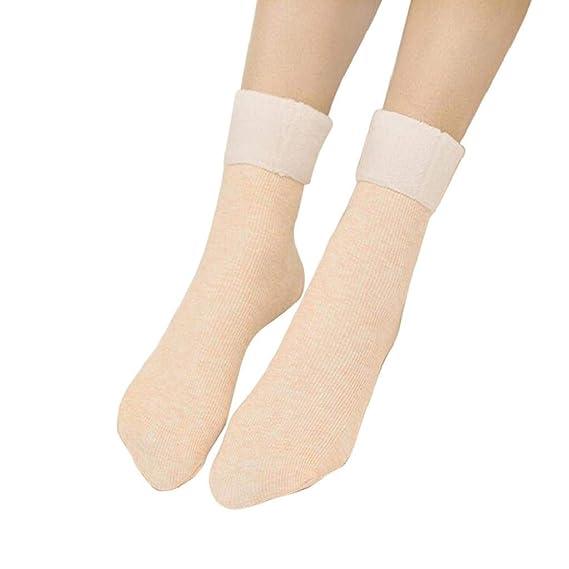 SHOBDW Mujer Sólido Puro Cálido Patineta Calcetín de la cama del piso Calcetines de rayas verticales