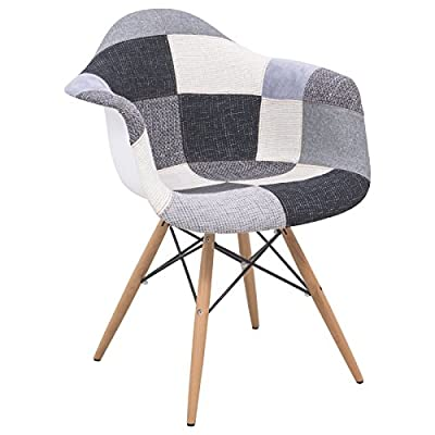 LeisureMod Emerson Patchwork Fabric Eiffel Base Accent Chair, 5', Multicolor - Contemporary patchwork design in a textured Polyester fabric Sponge foam cushioned seat Large armrests for added comfort - living-room-furniture, living-room, accent-chairs - 51P dlcNVGL. SS400  -