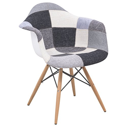 LeisureMod Willow Patchwork Fabric Eiffel Accent Chair, 5', Multicolor (Funky Dining Tables And Chairs)